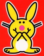 Un lapin heureux.